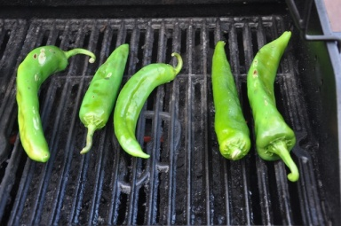First few peppers on the grill!