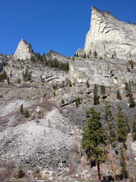 tall cliffs and blue sky